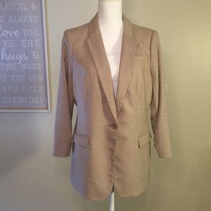 Limited Tan Blazer One Button Cinch Sleeve Large